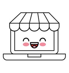 Laptop computer with ecommerce app kawaii vector