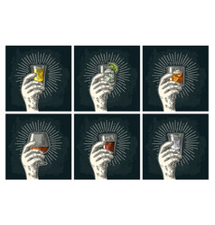 Male hand holding glass brandy tequila gin vector