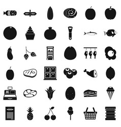 meat icons set simple style vector image