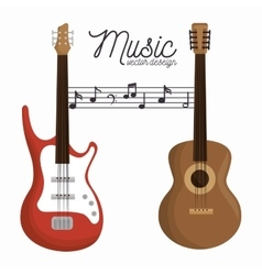 Music letter electric guitar and wooden guitar vector