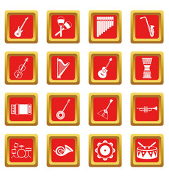 Musical instruments icons set red vector