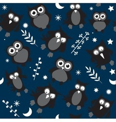 Owl seamless pattern on dark blue night background vector
