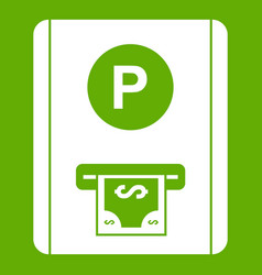 Parking fee icon green vector