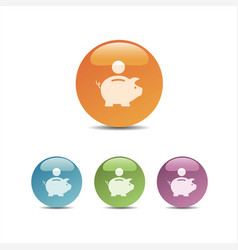 Piggy bank icon on colored bubbles vector