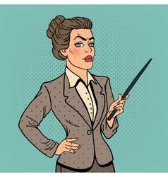Pop art business woman with pointer stick vector