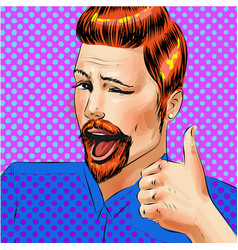 pop art man with thumb up hand gesture vector image vector image