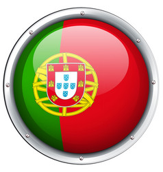 Portugal flag on round badge vector