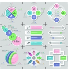Set Of 9 Flat Minimal Infographics vector image vector image