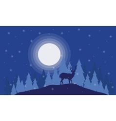Silhouette of deer on the field christmas scenery vector