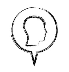 sketch monochrome of circular speech with vector image