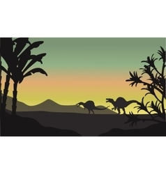 Spinosaurus at morning scenery vector