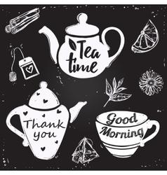 Tea cup lettering vector