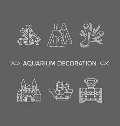 thin line icons - aquarium decoration tools vector image