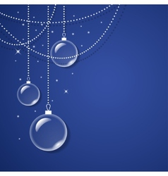 Transparent glass balls on blue background vector