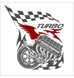 Vintage Engine Checkered Flags Racing vector image vector image