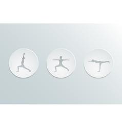 Virabhadrasana icons set vector