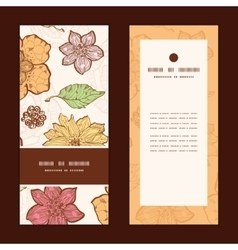 Warm fall lineart flowers vertical frame vector