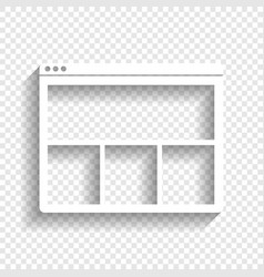 Web window sign white icon with soft vector