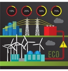 Wind power station trendy infographics set all vector