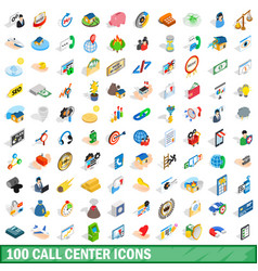 100 call center icons set isometric 3d style vector image vector image