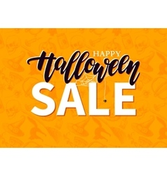 Halloween sale banner with lettering and vector