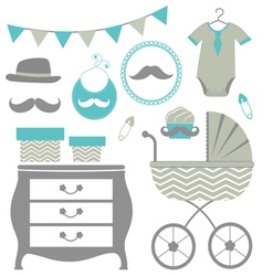 Little man is coming baby shower set vector image