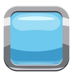 Light blue square button icon cartoon style vector image