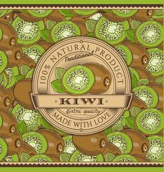 Vintage kiwi label on seamless pattern vector