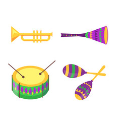 Equipment collection for mardi gras celebration vector