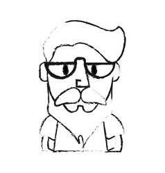 Blurred silhouette half body caricature old man vector