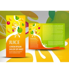 Brochure folder juice fruit drops liquid orange vector
