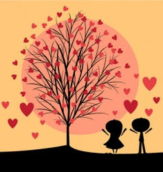 Couple under love tree vector