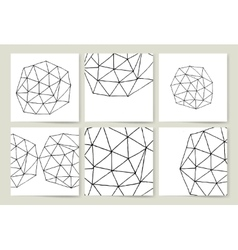 Complex triangulated 3d shape card set vector