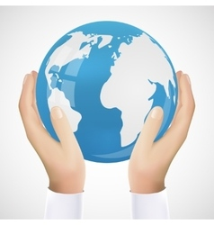 Realistic hand holding earth vector