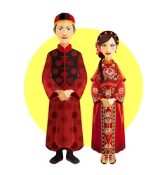 Chinese marriage wedding outfit ceremony vector
