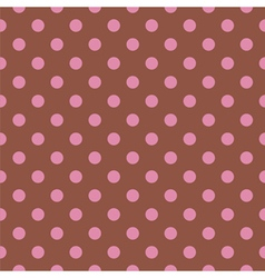 Tile pattern pink polka dots on brown background vector image