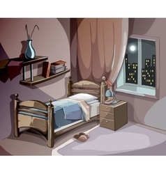 Bedroom interior at night in cartoon style vector