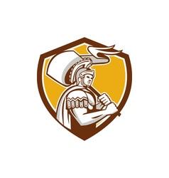 Roman Centurion Carry Flag Crest Retro vector image