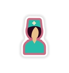 Paper sticker on white background nurse medical vector