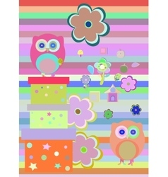 Background with flower owls and gift boxes vector