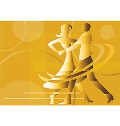 Dancing couple yellow background vector image