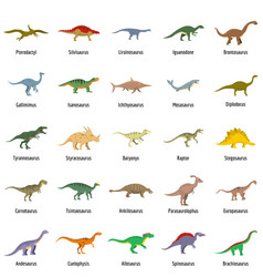 animal character dinosaur icons set flat vector image