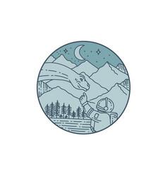 astronaut brontosaurus moon stars mountains vector image