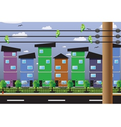 Buildings residential fiber cables vector