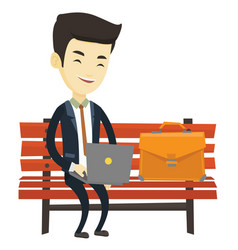 Business man working on laptop outdoor vector