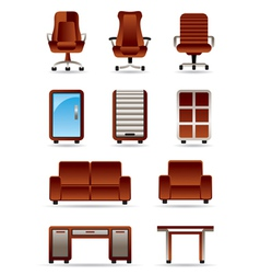 Business office furniture icon set vector image