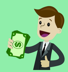 Businessman holds money in his hand and has profit vector