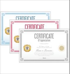 certificate collection retro design vector image vector image