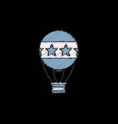 Circus watercolor hot air balloon in hatching vector