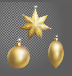 collection of christmas ball tree decoration gold vector image vector image